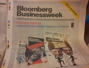 """Całostronicowa reklama """"Bloomberg Businessweek"""" w poniedziałkowym (22.10) wydaniu """"Rzeczpospolitej""""."""