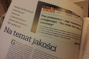 """Tekst dotyczący serwisu naTemat.pl w listopadowym """"Press""""."""