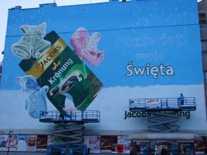 Mural. Świąteczna reklama kawy Jacobs.