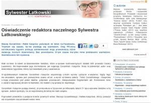 Oświadczenie Sylwestra Latkowskiego dotyczące agencji MDI