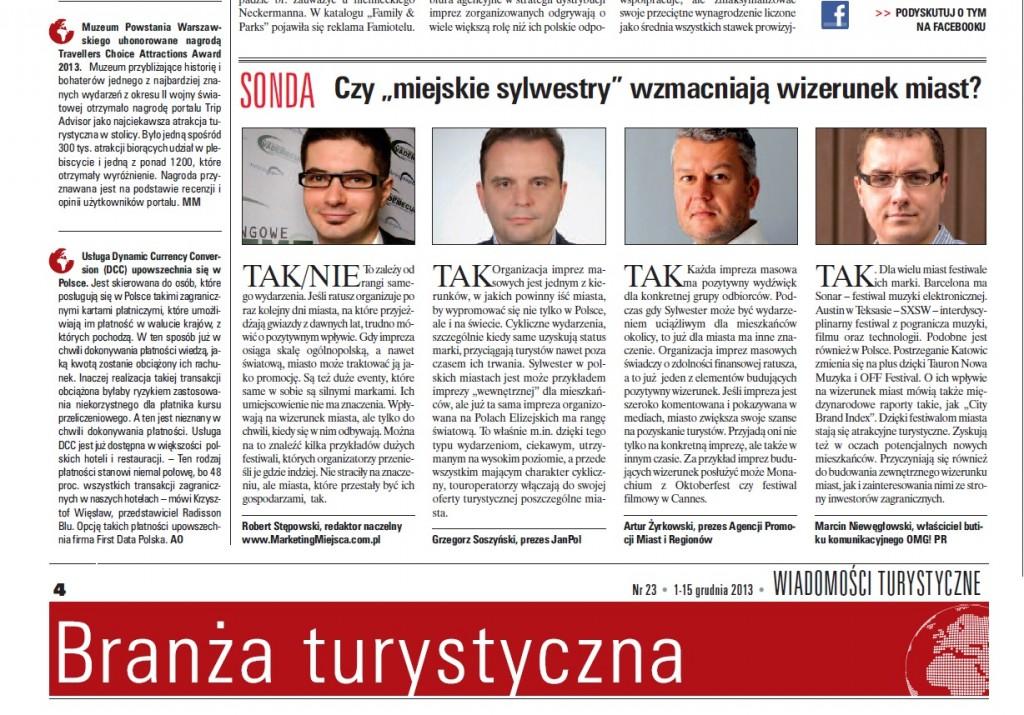 """Robert Stępowski dla """"Wiadomości Turystycznych"""" nr 23. 1-15 grudnia 2013"""