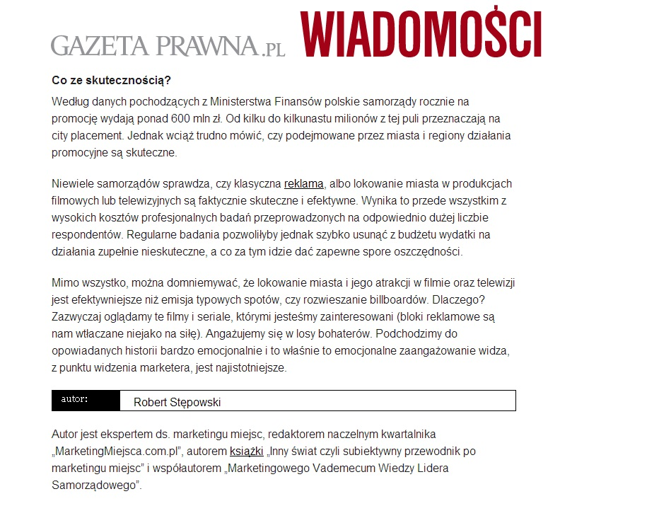 Mój tekst o city placement na GazetaPrawna.pl