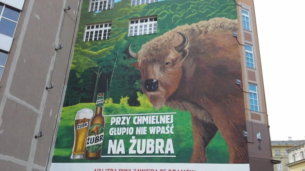 Mural piwa Żubr. Warszawa